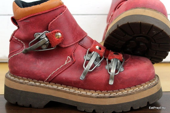 Vintage Jungla Red Leather Hiking Boots womens 8 Euro 39