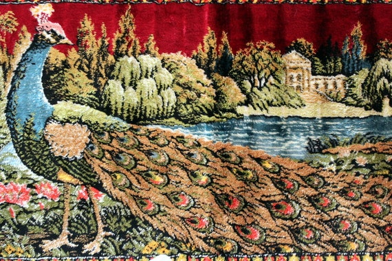 Vintage Italian Peacock Tapestry Wall Hanging Table Runner with Fringe
