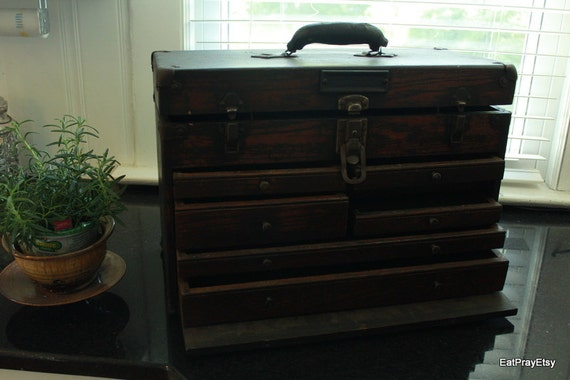 Vintage Machinist Wooden Tool Chest Antique Jewelry Chest Cabinet Original Lock and Key