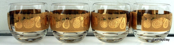 Vintage Roly Poly Gold Glasses Culvers Gold Signed Glasses  Mad Men Era