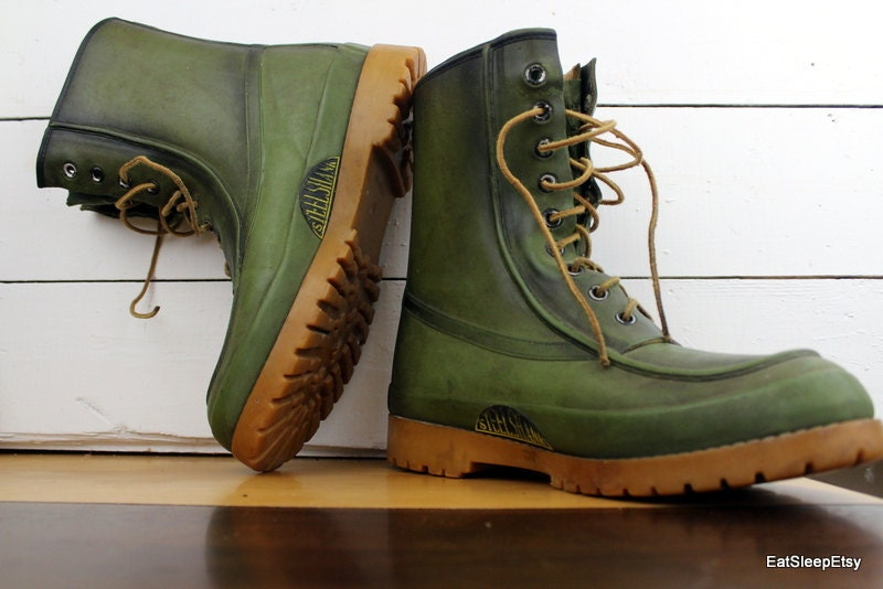 Vintage Steel Shank Insulated Boots Green Hunting Boots Mens