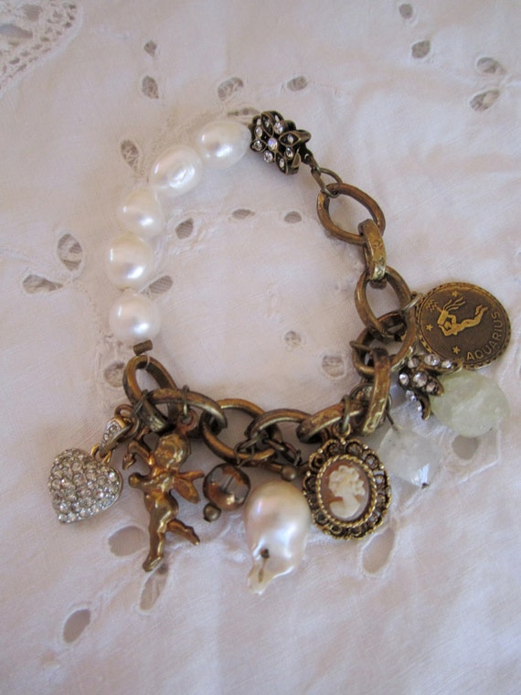 vintage repurposed jewelry charm bracelet pave heart cupid aquarius baroque pearl aquamarine butterfly clasp valentines gift