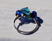 Blue crystal and glass wire wrapped ring, September birthstone ring,  December Blue Zircon jewelry, Cobalt Blue Ring -  Wire Wrapped