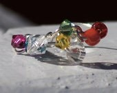 Rainbow ring, wire wrapped ring, crystal ring, silver jewelry, rainbow jewelry, cluster ring, beaded ring, adjustable ring