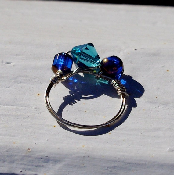 SALE Birthstone ring, September Saphire, December Blue Zircon, Cobalt Blue Ring -  Wire Wrapped