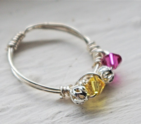 Birthstone ring, friendship best friends ring, mothers day ring, mother daughter gift, mother daughter ring, pink lemonade - wire wrapped