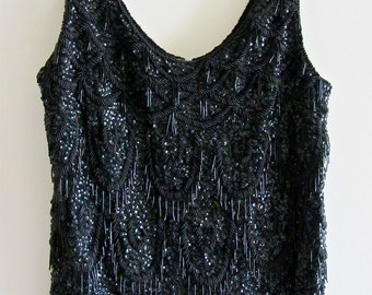 Mad Men Beaded Shell Tank Beaded Fringe Vogue Haute Couture Boho  Chic Jet Black Unique Clothing