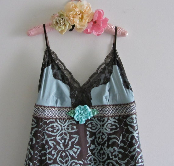 Altered Couture Bohemian Embroidered Dress Tiffany Aqua Blue And Chocolate Brown Lined Handmade Slip Over Size Large 10-12