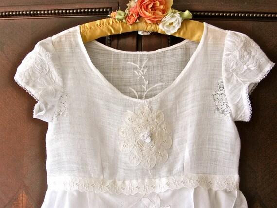 Romantic Lace Tunic Delicate White Linen Vintage Lace