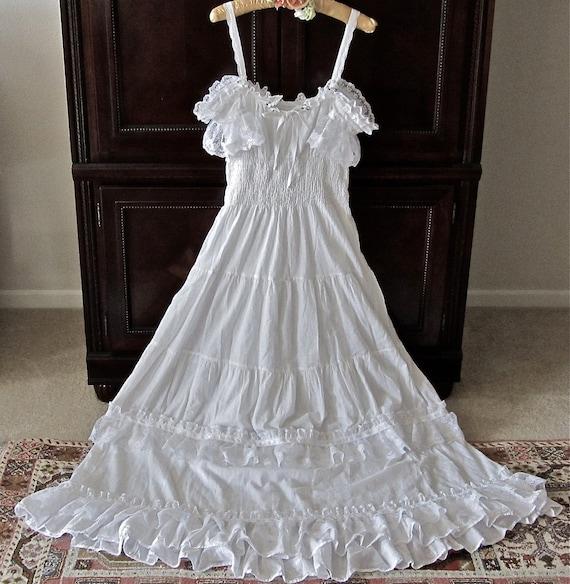 Boho Victorian Ruffled Dress White  Fantasy Romantic Fairy Angel Wedding  Dreamy  Off Shoulder