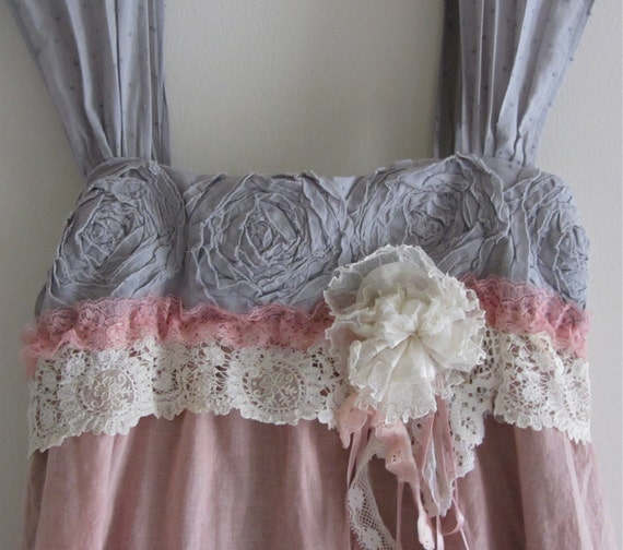 French Sugar Dress Shabby Sweet And Chic Ruffled Ruffle Tattered  Boho Roses Muted Mauve Grey Chocolate Colors