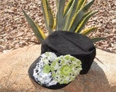 Sale...Cadet Military distressed Army hat Black with Lime Green, Black and White Fabric Flowers and Button Accents