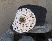 Polka Dot Navy Distressed Military Cadet Hat with Gorgeous Matching Gem Pendant