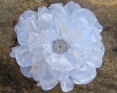 Elegant White Satin Open Rose Bridal Hair Flower Fascinator with Rhinestone Accent