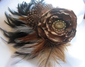 Feather Flower Fascinator with Chocolate Brown Satin Flower and Gorgeous Gold and Rhinestone Accent - theraggedyrose
