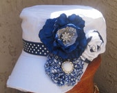White and Navy Cadet Military Distressed Army Hat with Three Coordinating Fabric Flowers.......FREE SHIPPING