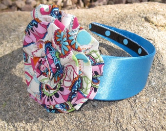 Sale......Girls Blue Satin Headband with Matching Multi Print Fabric Flower