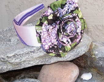 Sale.....Purple and Lavender Headband with Multi Print Black and Purple Fabric Flower Girls Baby Toddler Hair Accessories