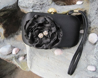 Vintage Clutch Wristlet Black With a Black Satin  Flower and  Rhinestone Accents