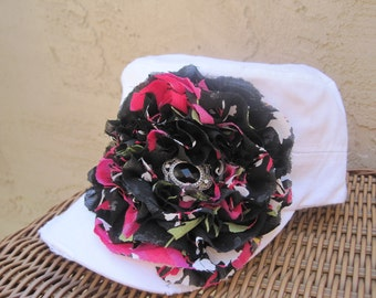 SALE....White Cadet Military Distressed Hat with A Black and Pink Variegated Chiffon Flower and Black and Silver Stone Accent