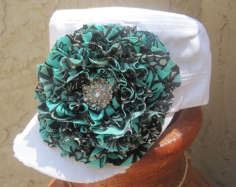 SALE....White Cadet Military Distressed Hat with a Turquoise and Black Chiffon Flower and Rhinestone Accent