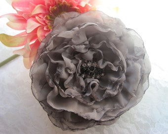 Grey Chiffon Wedding Flower Hair Clip, Brooch Bridesmaid, Mother of the Bride with Smokey Rhinestone and Black Accent.