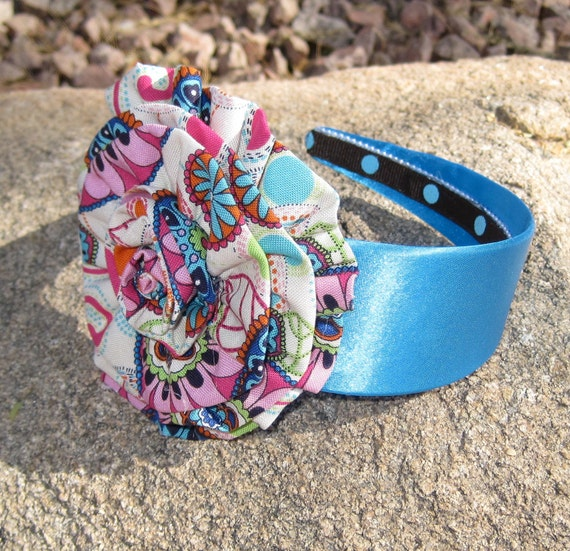 Sale......Girls Blue Satin Headband with Matching Multi Print Fabric Flower
