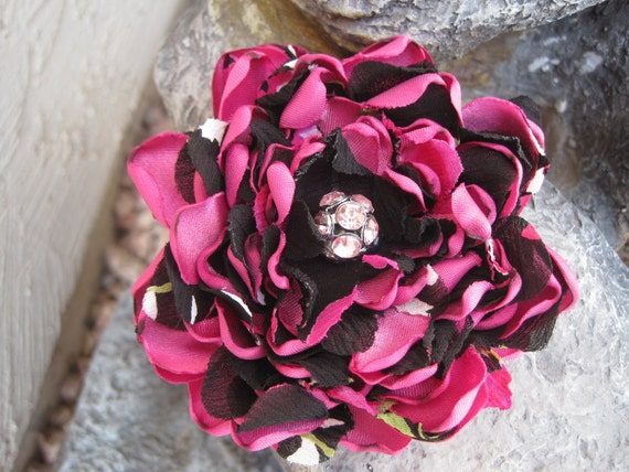 SALE............Shocking Pink and Black  Satin and Chiffon Flower Brooch, Pin, Hair Clip with Beautiful Rhinestone Pink Accent