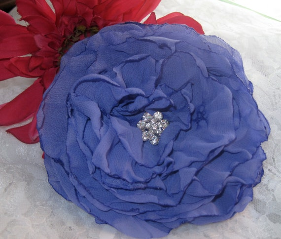 Periwinkle Purple Chiffon Bridal Wedding  Bridesmaid Mother of the Bride Flower Fascinator Hair Clip Brooch Pin with  Rhinestone Accent