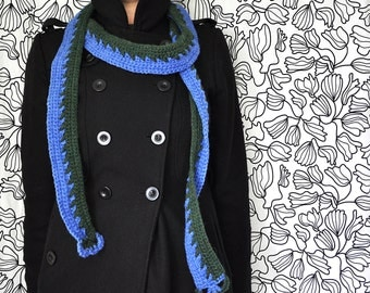 Sky Blue and Forest Green Twisted Scarf