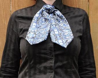 Blue and Silver Brocade Ascot/Cravat