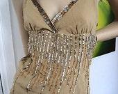 Stunning Creamy dreamy sparkle Silk Sequins Top Vintage Nude Pale mocha beige sz small 8/10 Aust/UK