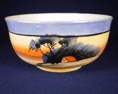 Shop Sale now  Delicate Vintage Japanese Sunset Pattern sugar bowl.Match tea cup,saucer & plate tea trio FREE creamer If  buy set