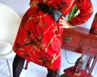 Lookin Funky Shaz, Red Cowl Neck Dress, stretch nylon (Au/Uk sizes 12- 16 or US 8-12)m,L,xL,xxL