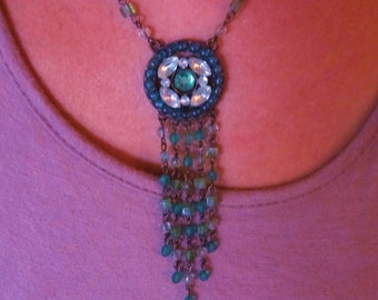 Sale on now Glass bead green Tassle drape necklace Victorian style