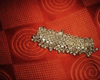 Antique Solid Silver anklet or bracelet from Rajasthan northern India. Bells, Belly Dance, Ethnic, Tribal.