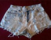 White Washed Distress Denim Shorts
