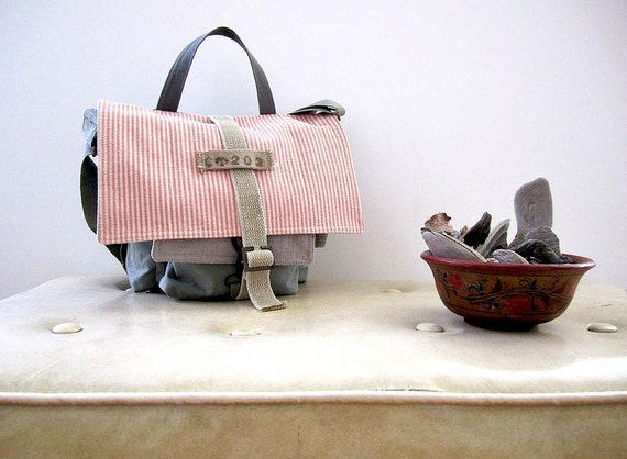 Soft Pastels Messenger Satchel by Camp Wilder Repurposed Army spring stripes