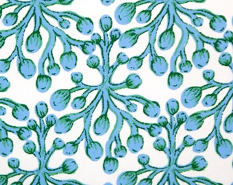 Blu SeaWeed (Vintage Retro) BLUE, White,Green SOLD by SINGLE Roll