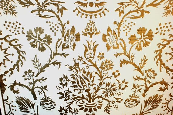 VINTAGE BALMORAL Hand Print Wallpaper Metallic Antique Gold on Cream White