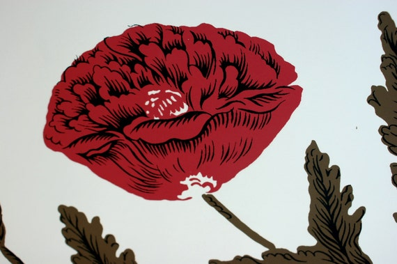 RESERVED Vintage Retro POPPY Explosion Hand Print Wallpaper SINGLE Roll