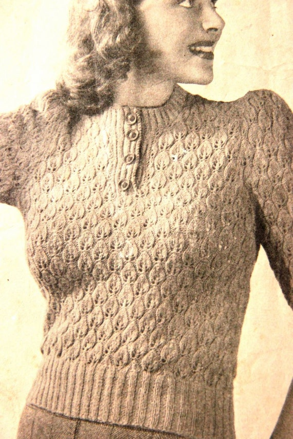 1940s Country Girl  style sweater- Gorgeous Leaf motif- Australian Knitting ePattern b34