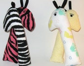 SALE...Soft, washable baby rattle toys with taggie ears