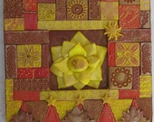 Golden Lotus Flower Mixed Media Polymer Clay Mosaic