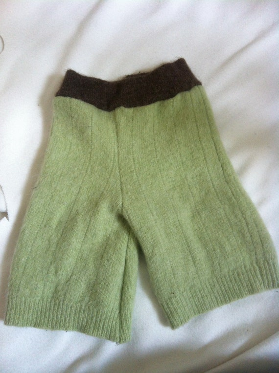 Medium/Large green and brown upcycled wool shorties