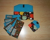 Fabric Cash Envelope budget system with EMBROIDERED LABELS - turquoise circles
