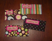 Set of 4 velcro Cash Envelopes with Custom Embroidered Labels