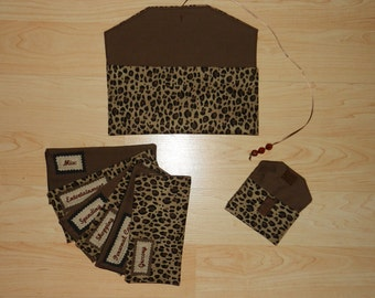 Cheetah Print Cloth Budgeting Wallet and Envelopes with EMBROIDERED LABELS
