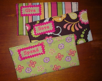 Kid Give, Save, Spend Cash budget Envelopes EMBROIDERED with Velcro (can be used with Dave Ramsey system)