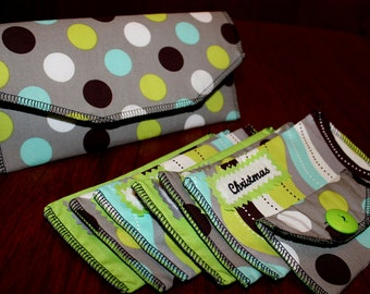 Fabric Cash Envelope wallet system - turquoise, green, & grey with SERGED edges wallet